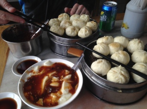 This full Beijing breakfast for two of baozi and bean curd soup costs only 19 yuan.
