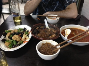 Three course meal and two big beers at Lao Shi To a for 50  yuan ... about 8 US dollars.