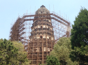 Tiger Hill Pagoda under construction.